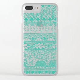 Mountain Tapestry in Midnight Teal Clear iPhone Case