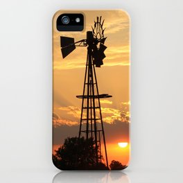 Kansas Wall of Clouds Sunset with Windmill Silhouette iPhone Case