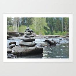 Rocks in balance in the Hoh Rainforest Art Print