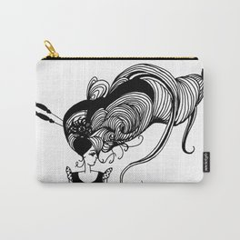 Young Lady with Large Hair Carry-All Pouch