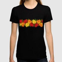 Red Rose Border On Black T-shirt