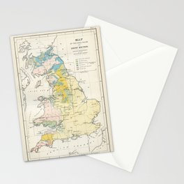 Vintage Map of the Coal Fields of Great Britain Stationery Cards