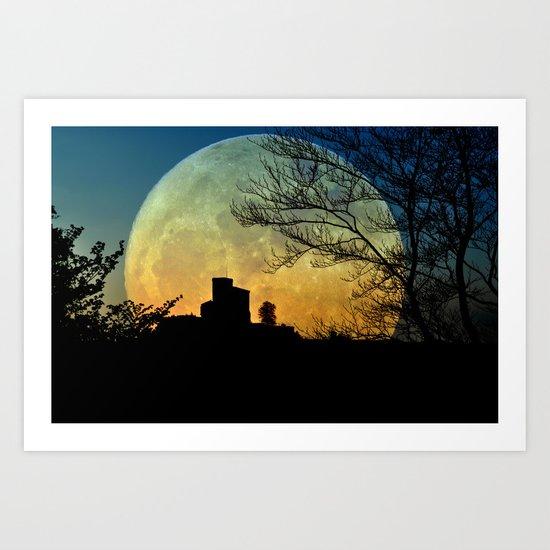 Fullmoon castle Art Print