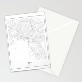 Oslo, Norway Minimalist Map Stationery Cards