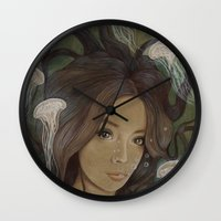 siren Wall Clocks featuring Siren by  The Floral Fox