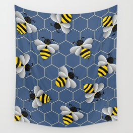 Bumbled Blue Wall Tapestry