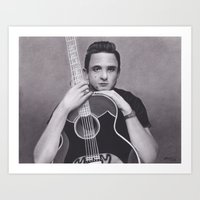 johnny cash Art Prints featuring Johnny Cash by Brittni DeWeese
