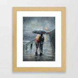 Rainy Walk Framed Art Print