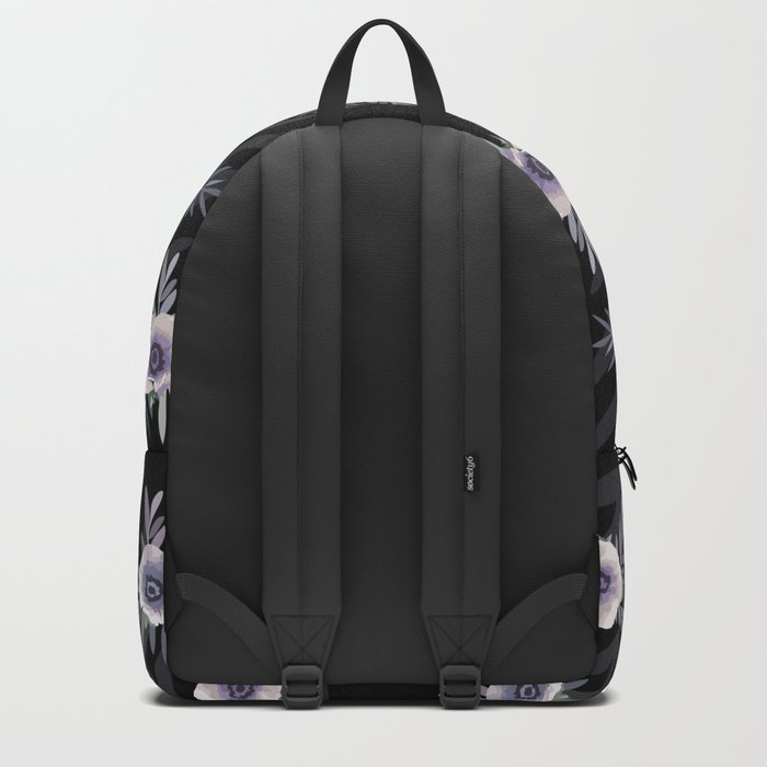 Floral pattern with anemone flowers, romantic print black background Backpack