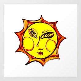 Yellow Sun Mandala Art Print