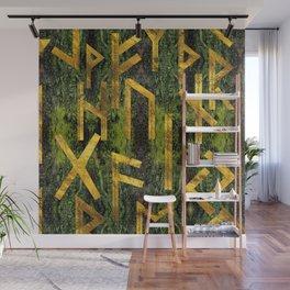 Vintage Gold Runic alphabet on tree bark Wall Mural