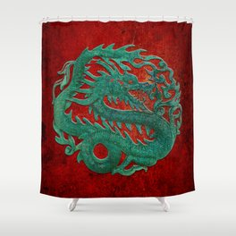 Wooden Jade Dragon Carving on Red Background Shower Curtain