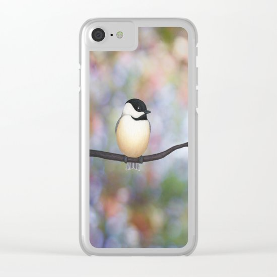 black capped chickadee on a branch Clear iPhone Case