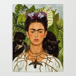 SELF PORTRAIT WITH THORN NECKLACE AND HUMMING BIRD - FRIDA KAHLO Poster