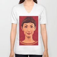 amelie V-neck T-shirts featuring Amelie by DC Bowers