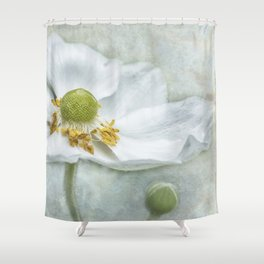 Anemone with Textured Background Shower Curtain