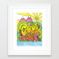 good vibes Framed Art Prints featuring Good Vibes by Rachel Beyer