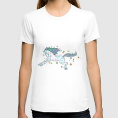 Hippie Horse LARGE Womens Fitted Tee White