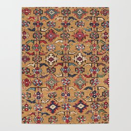 Mustard Khyrdagyd // 19th Century Colorful Dark Red Purple Southwestern Cowboy Ornate Accent Pattern Poster