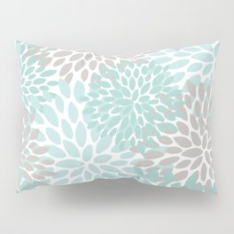 Floral Pattern, Teal, Aqua, Turquoise,Gray Pillow Sham