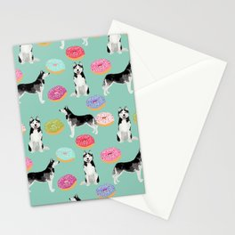 Husky donuts cute dog portrait pet friendly dog art husky puppies must have gifts for dog lover Stationery Cards