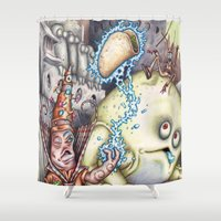 poker Shower Curtains featuring Hocus Poker by Andy Hopp