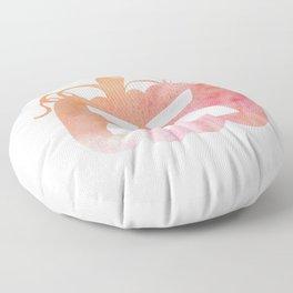 Halloween Watercolor Pumpkin Face Orange & Pink 4 Floor Pillow