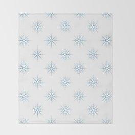 Seamless pattern with blue snowflakes Throw Blanket