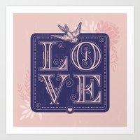love type swallow Art Print