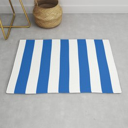 Denim turquoise - solid color - white vertical lines pattern Rug