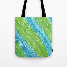 Blue and Green Palm Leaves Tote Bag