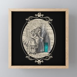 Follow The White Rabbit - Vintage Book Framed Mini Art Print