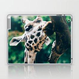 Green Portrait Of A Giraffe Laptop & iPad Skin