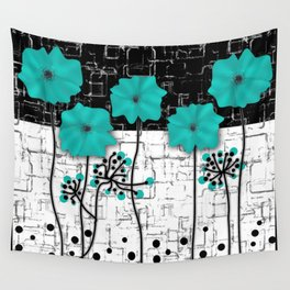 Turquoise flowers on black and white background . Wall Tapestry