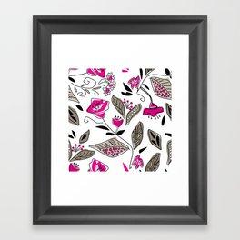 Floral black and Burgundy Framed Art Print