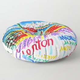 Vintage Menton France Travel Floor Pillow