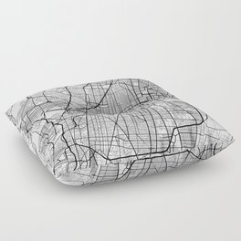 Mexico City Map, Mexico - Black and White Floor Pillow