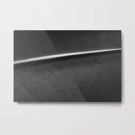 Elegant silver pigeon feather texture lines Metal Print