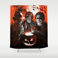 freddy krueger Shower Curtains featuring Freddy Krueger Jason Voorhees Michael Myers Super Villians Holiday by Scott Jackson Monsterman Graphic