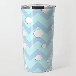 Light blue white Chevron pattern with Snowballs Travel Mug