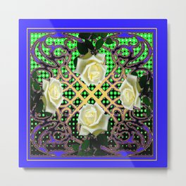 BLUE-GREEN WHITE ROSE GARDEN  TAPESTRY ART Metal Print