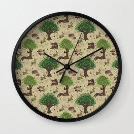 Mr Pine Marten's woodland adventure Wall Clock