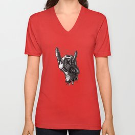 Zombie Horns on Red - No Pick Unisex V-Neck