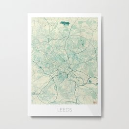 Leeds Map Blue Vintage Metal Print