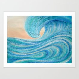 A Wave From It All beach surf art painting  Art Print