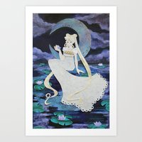 Usagi with Waterlilies Art Print