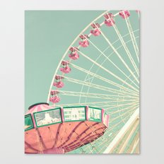 Pink and mint nursery composition Canvas Print