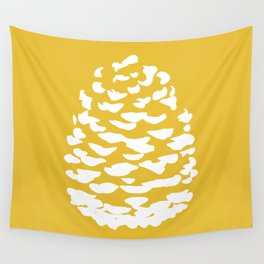Pinecone Mustard Yellow Wall Tapestry