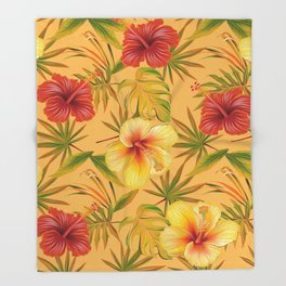 Leave And Flowers Pattern Throw Blanket