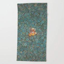 buttons fantasy blue lake Beach Towel